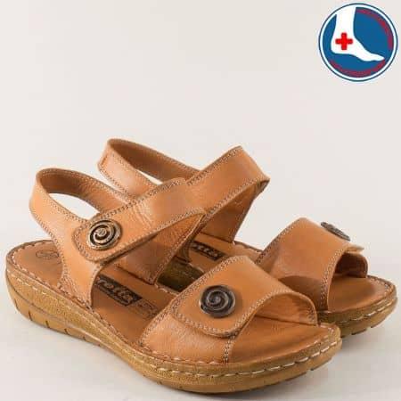 Шити дамски сандали Loretta от естествена кожа в кафяво на анатомично ходило l6044k
