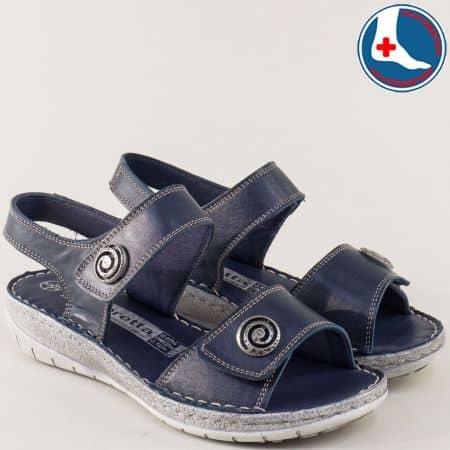 Ортопедични дамски сандали с две лепки в син цвят l6044s