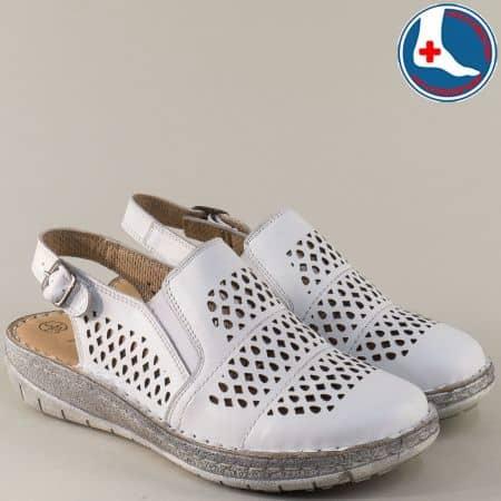 Шити дамски обувки от бяла естествена кожа с перфорация l6045b
