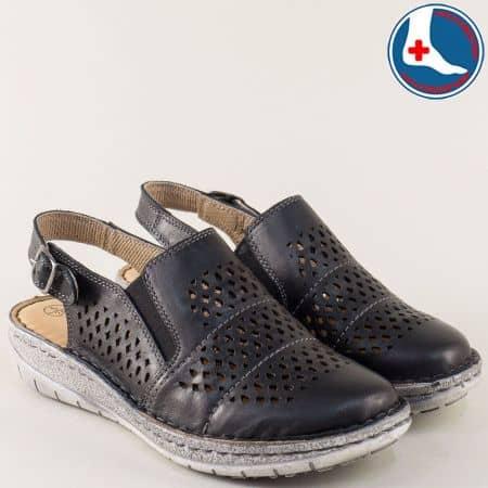 Анатомични дамски обувки с отворена пета в черен цвят l6045ch