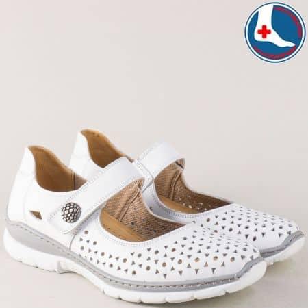 Ортопедични дамски обувки от бяла естествена кожа l6063b