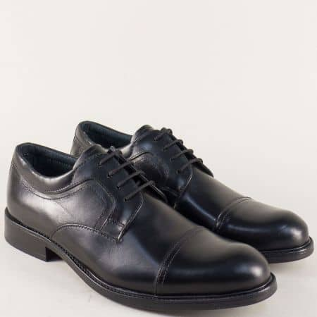 Италиански мъжки обувки от черна естествена кожа m04503ch