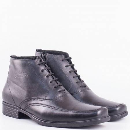 Мъжки семпли боти на удобно ходило от висококачествена естествена кожа в черен цвят m056ch