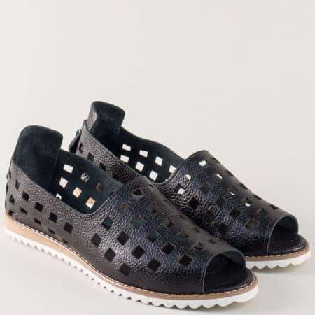 Черни дамски обувки с отворени пръсти и перфорация m963ch
