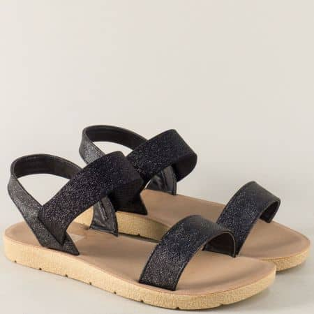 Черни дамски сандали с ластик на комфортно равно ходило m1020ch