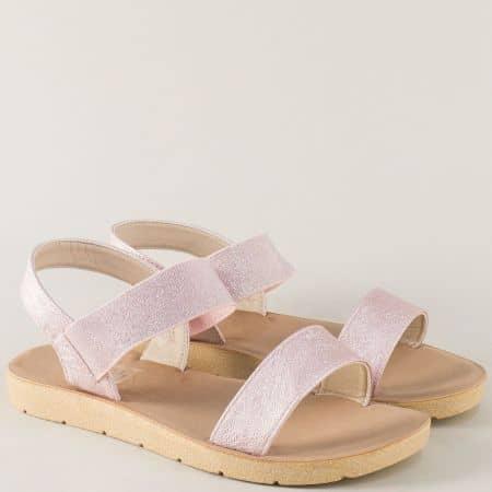 Розови дамски сандали на равно ходило с ластик около глезена m1020rz