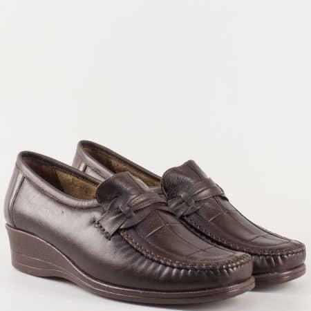 Комфортни дамски обувки тип мокасини в кафяв цвят m104kk