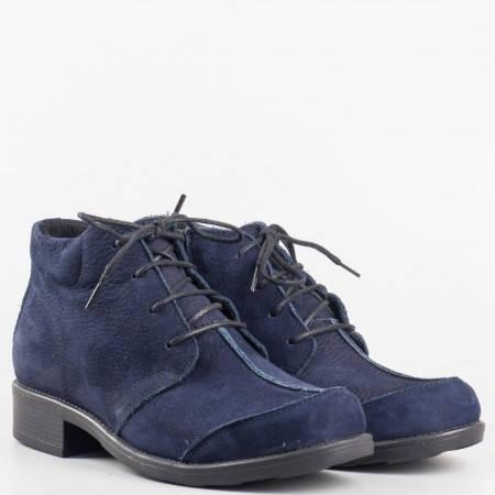 Дамски ежедневни боти произведени от висококачествен естествен велур на известен български производител в тъмно син цвят m1121s
