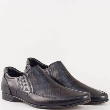 Мъжки официални обувки с два ластика от 100% естествена кожа с перфорация в черен цвят  m112dch