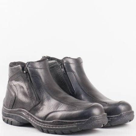 Мъжки комфортни боти за всеки ден от висококачествена естествена кожа в черен цвят m130ch