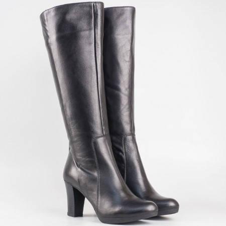 Дамски стилни ботуши изработени от висококачествена естествена кожа на български производител в черен цвят m1325ch