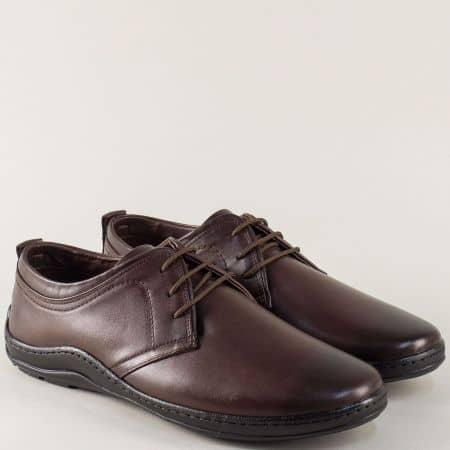 Кожени мъжки обувки в тъмно кафяво на равно шито ходило m1400kk