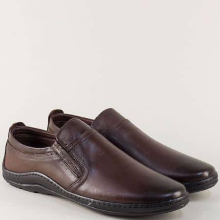 Шити мъжки обувки от тъмно кафява естествена кожа m1401kk