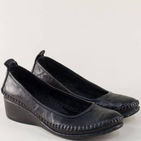 Дамски обувки на клин ходило от черна естествена кожа m150ch