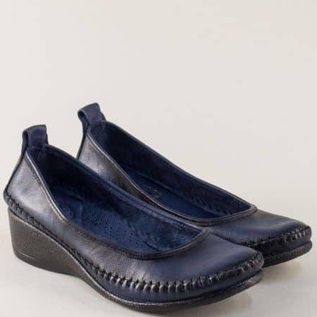 Сини дамски обувки на клин ходило с кожена стелка m150s