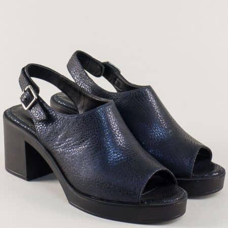 Тъмно сини дамски сандали на ток от естествена кожа m158ts