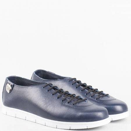 Дамски ежедневни обувки изработени от 100% естествена кожа на български производител в син цвят m1603s