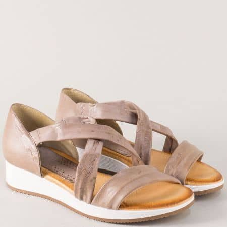 Бежови дамски сандали със стелка от естествена кожа m167bj