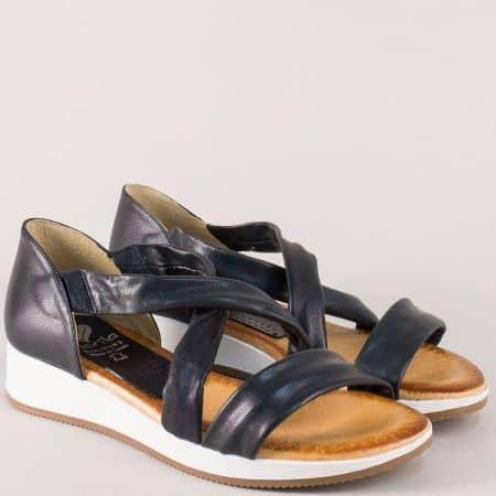 Кожени дамски сандали със затворена пета в черен цвят m167ch