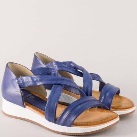 Дамски сандали със затворена пета в син цвят- Marila  m167s