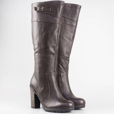 Дамски ежедневни ботуши със сая от висококачествена естествена кожа в кафяв цвят m180kk
