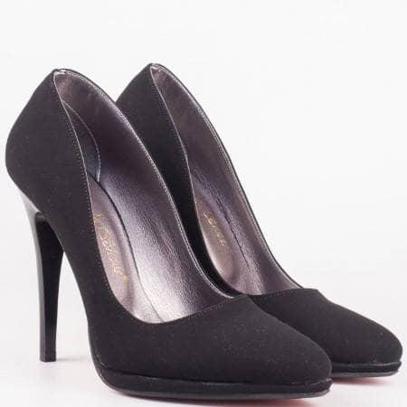 Дамски елегантни обувки на висок ток в черен цвят m182nch