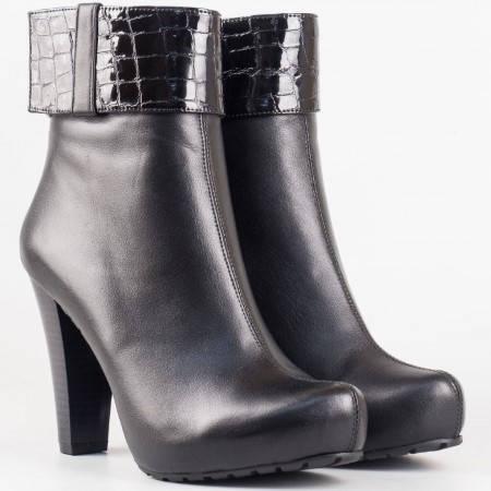 Дамски стилни боти изработени от естествена кожа и лак на удобно ходило в черен цвят m18ch