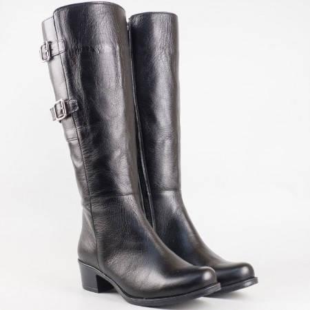 Дамски качествени ботуши изработени от естествена кожа в черен цвят m200ch