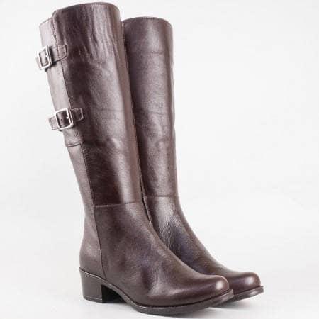 Дамски ежедневни ботуши изработени от висококачествена естествена кожа в кафяв цвят m200kk