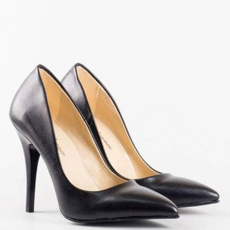Черни  дамски обувки на  висок ток от висококачествена  еко кожа m2015ch