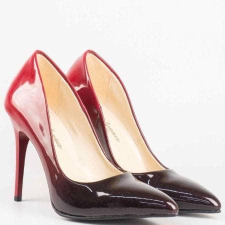 Лачени дамски обувки на висок ток в черно и червено m2015chchv