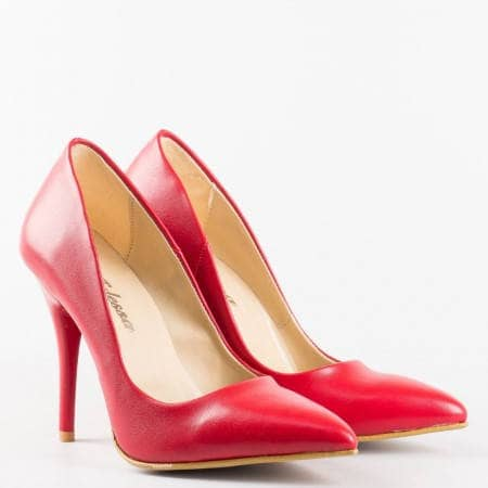 Червени  дамски обувки на  висок ток от висококачествена  еко кожа m2015chv