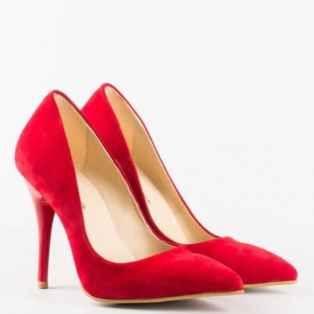 Червени  дамски обувки на  висок ток от висококачествен  еко набук m2015nchv
