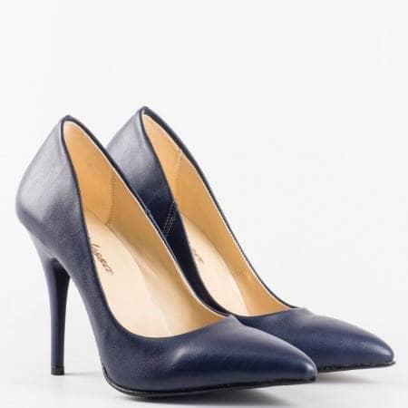 Сини  дамски обувки на  висок ток от висококачествена  еко кожа m2015s