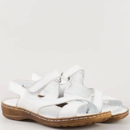 Дамски сандали за всеки ден произведени от 100% естествена кожа в бял цвят m207b