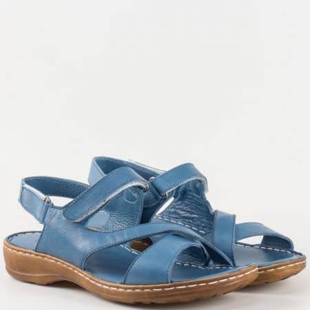 Дамски удобни сандали на шито ходило с кожена стелка и две велкро ленти в син цвят m207s