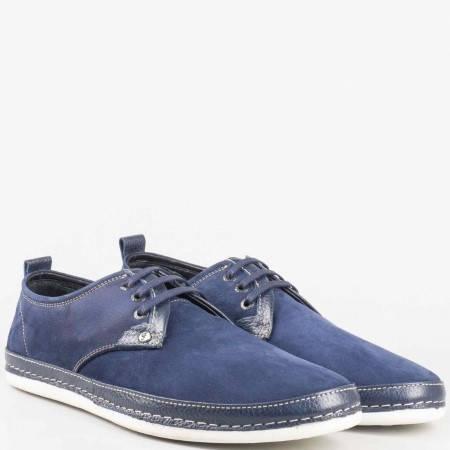 Мъжки обувки за всеки ден на удобно ходило с връзки изработени от висококачествен естествен набук в тъмно син цвят m221ns