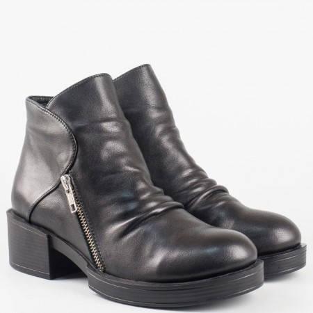 Дамски комфортни боти от висококачествена естествена кожа на водещ български производител в черен цвят m24660ch