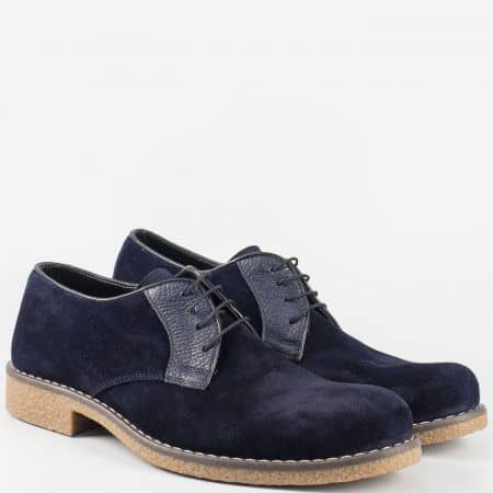 Шити мъжки обувки с връзки от син естествен велур и каучук n30vs