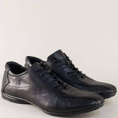 Мъжки кожени обувки с връзки в черен цвят m310mch