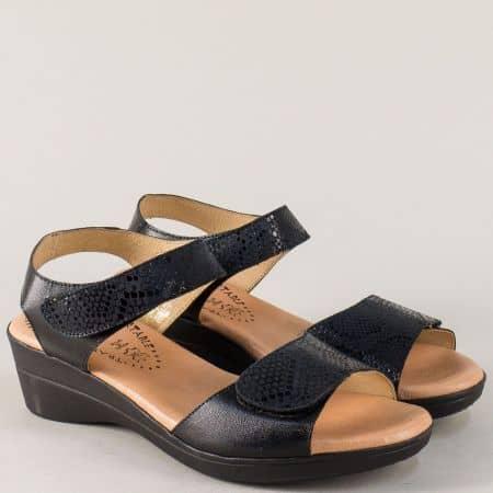 Черни дамски сандали на среден ток с кожена стелка m3321ch