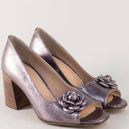 Бронзови дамски обувки от естествена кожа на висок ток m411brz