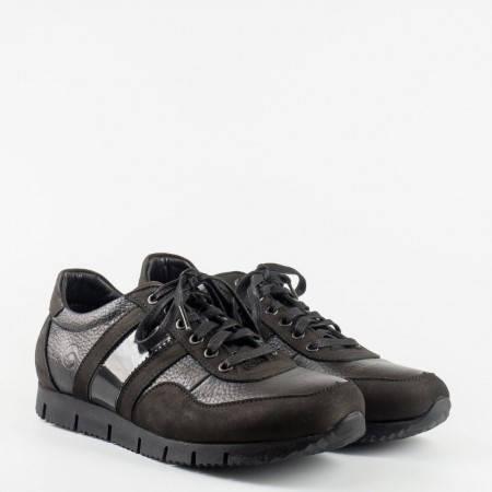 Мъжки ежедневни обувки от набук и кожа с връзки в черен цвят m4141ch