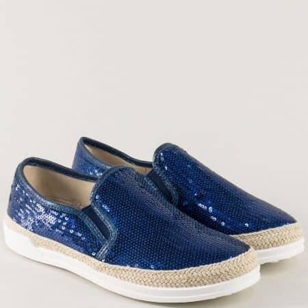 Сини дамски обувки с два ластика на равно ходило m5002s