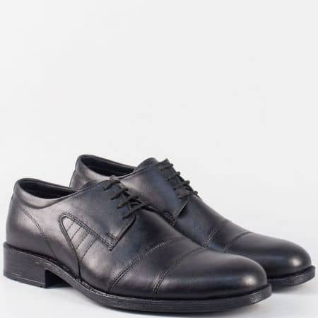 Черни мъжки обувки с връзки и кожена стелка от естествена кожа m5018ch