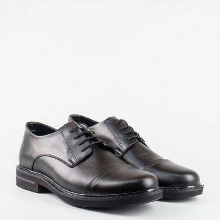Стилни елегантни мъжки обувки с връзки в черен цвят m5045ch