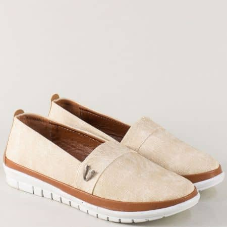 Дамски обувки в бежов цвят със стелка от естествена кожа m51dbj