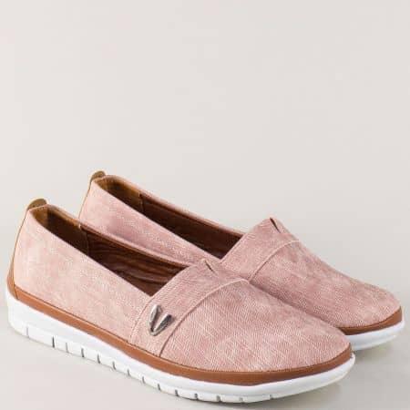 Розови дамски обувки с хастар и стелка от естествена кожа m51drz