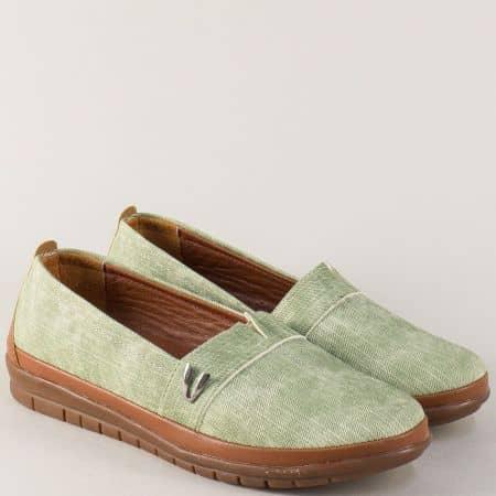 Дамски обувки в кафяво и зелено с кожена стелка m51dz