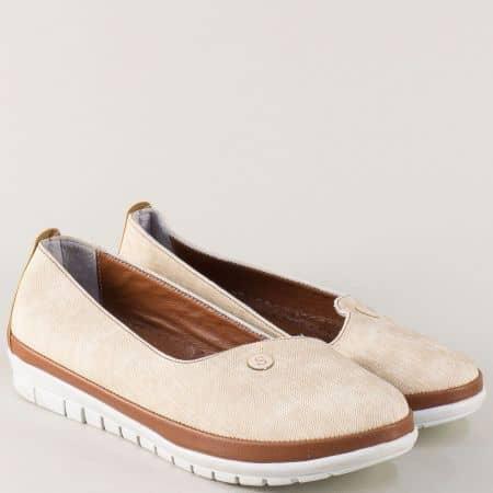 Равни дамски обувки в бежово и кафяво с кожена стелка 52dbj